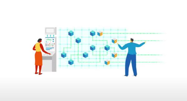 Ilustração de pessoas em frente a um diagrama de fluxo de trabalho