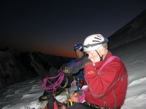 Photo: High up the Linda, the first glimmer of dawn and time for a drink and a hard to chew 'power bar'.
