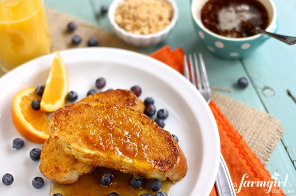 French Toast with Caramelized Cinnamon Orange Sugar