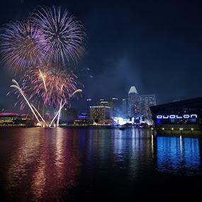 Skyline Fireworks by Ken Goh - City,  Street & Park  Skylines