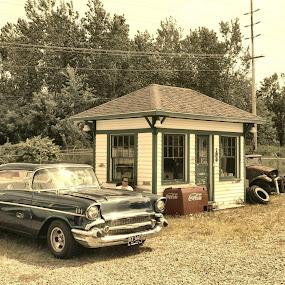 by John Fisher - Transportation Automobiles ( john fisher, coke, gas station, 1957 belair, classics )