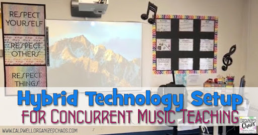 Hybrid Technology Setup for Concurrent Music Teaching
