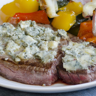 Peppercorn Steak with Herbed Blue Cheese Recipe