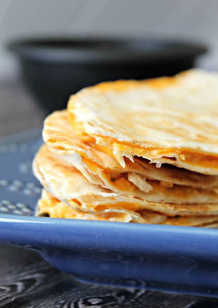 Golden brown and filled with delicious, cheesy goodness - Buffalo Chicken Quesadillas