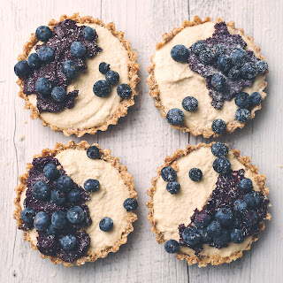 Raw Vegan Blueberry and Lemon Cheesecake Tarts with Blueberry Chia Jam.