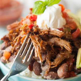 Chili Spiced Gluten-Free Pulled Pork Burrito Bowls Crock Pot.