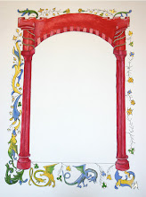 Photo: 1440's, Red arch based on Catherine of Cleves Hours