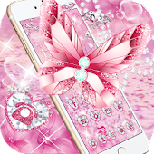 Pink Glitter Diamond Butterfly Theme