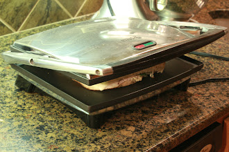 Photo: I used a panini press, but you could use a George Foreman grill. Plus, that would give it the cool grill marks!