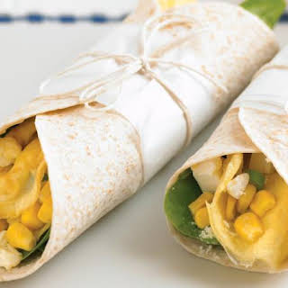 Egg, Corn and Feta Cheese Wraps.