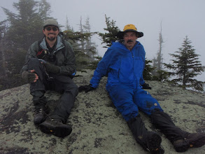 Photo: Dave and me on The Horn. The spectacular views were hidden in the clouds. Photo by Tommy Bell.
