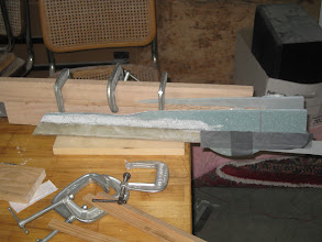 Photo: Armrest/throttle quadrant/storage bin clamped and curing