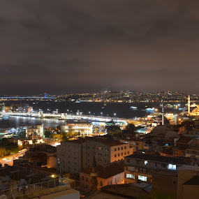 ISTANBUL by Molnar Csilla - City,  Street & Park  Night ( city lights, night, bridge, istanbul, city,  )