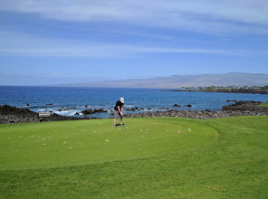 Photo: Golf buddy Linda Lewis on the tee at the South course of Mauna Lani resort on the big Island.