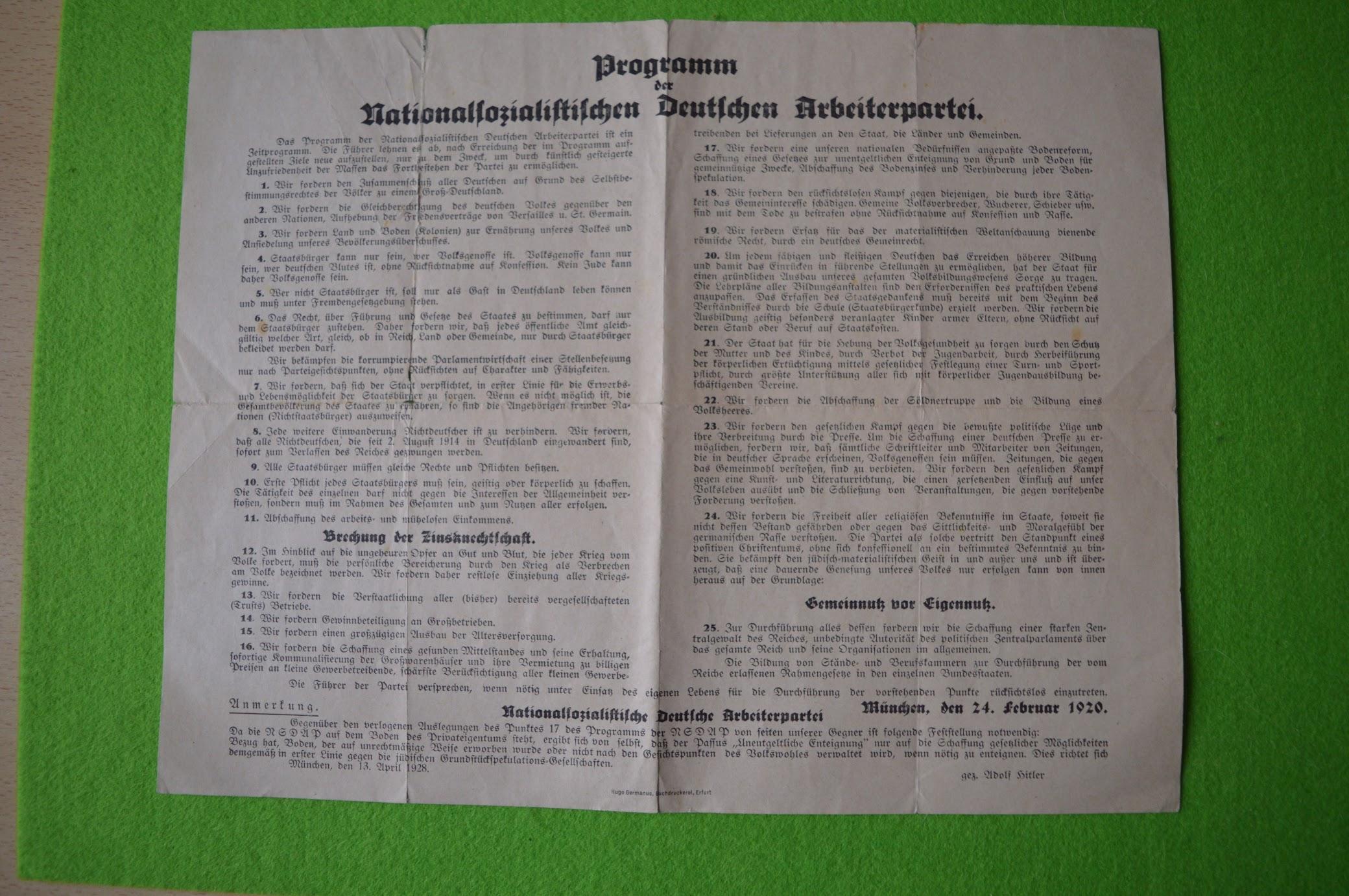 Heute vor 100 Jahren - ein Parteiprogramm von 1920