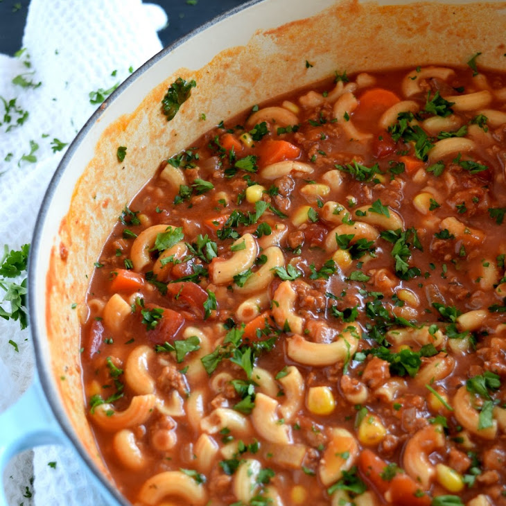Beef and Pasta Tomato Soup Recipe