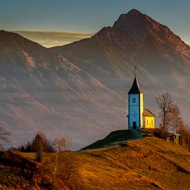 Jamnik by Aleksandra Jereb - Buildings & Architecture Public & Historical ( mountains, church, jamnik, st.primož, sunrise, morning )