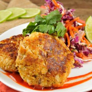 Thai Fish Cakes with cilantro-lime slaw