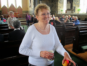 Photo: A smiling Liz Dignam and equally happy Jean Egan in Christ Church, Clifden