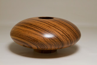 "Photo: Eliot Feldman 3 1/4"" x 7 1/2"" hollow vessel [zebra wood]"