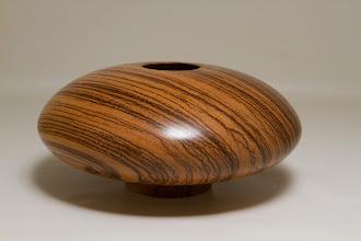 "Photo: Eliot Feldman 3 1/4"" x 7 1/2"" hollow vessel [zebra wood]"