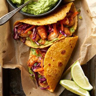 Shrimp Tacos with Avocado Crema.