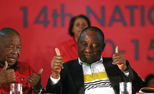 ANC Deputy President Cyril Ramaphosa gives SACP General Secretary Blade Nzimande the double OK.