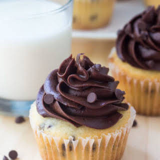 Chocolate Chip Cupcakes with Chocolate Frosting.
