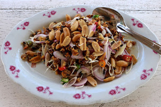 "Photo: hot-ans-sour crispy baby clam salad (""yum gkehson hoi""), Sunee seafood restaurant at Pranburi marina"
