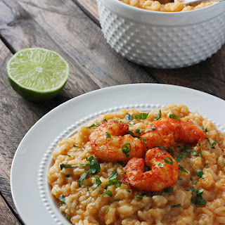 Oven Baked Thai Risotto with Roasted Shrimp.