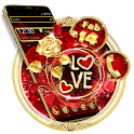 Romantic Diamond Gold Rose Love Theme icon