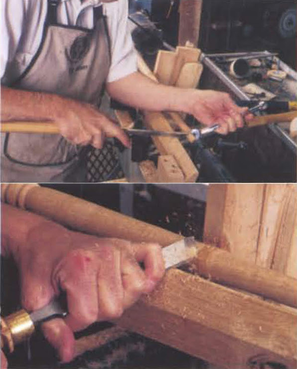 7. Work from the largest diameters to the smallest. Because of the steady, my skew cuts beautifully without harmonic chatter. To size the end of my baluster to 1/2 in., I use a 1/2-in. open-end wrench as a ready-set caliper. Finally, trim away the bearing surface under the steady with a skew.