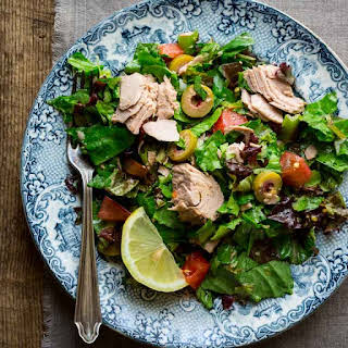 Chopped Salad with Tomatoes, Olives and Tuna.