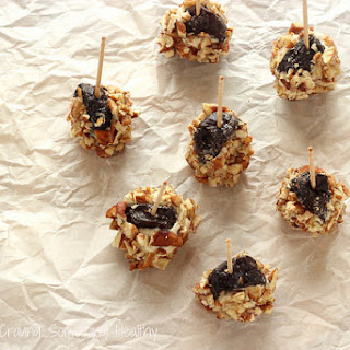 Dried Plum Bites with Gorgonzola Dolce and Toasted Pecans.