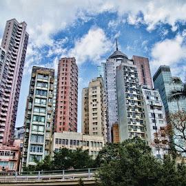 Hongkong Building by Yamin Tedja - City,  Street & Park  Skylines ( city, buildings, skyline, hongkong, tower )