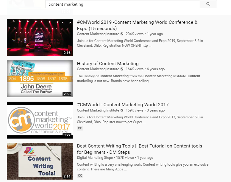 youtube search for content marketing