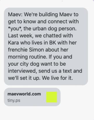 Maev: message texte conversationnel.