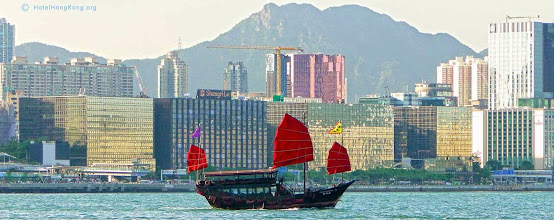 Photo: Chinese junk Hong Kong harbour