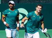 South Africa's Raven Klaasen and Ruan Roelofse celebrate a point in their doubles win against Bulgaria's Alexander Donski and Alexandar Lazarov in the Davis Cup at Kelvin Grove Club in Newlands on Saturday.