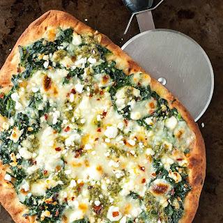 Three Cheese Pesto Spinach Flatbread Pizza Recipe