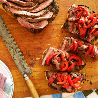 Grilled Flank Steak on Ciabatta With Red Peppers