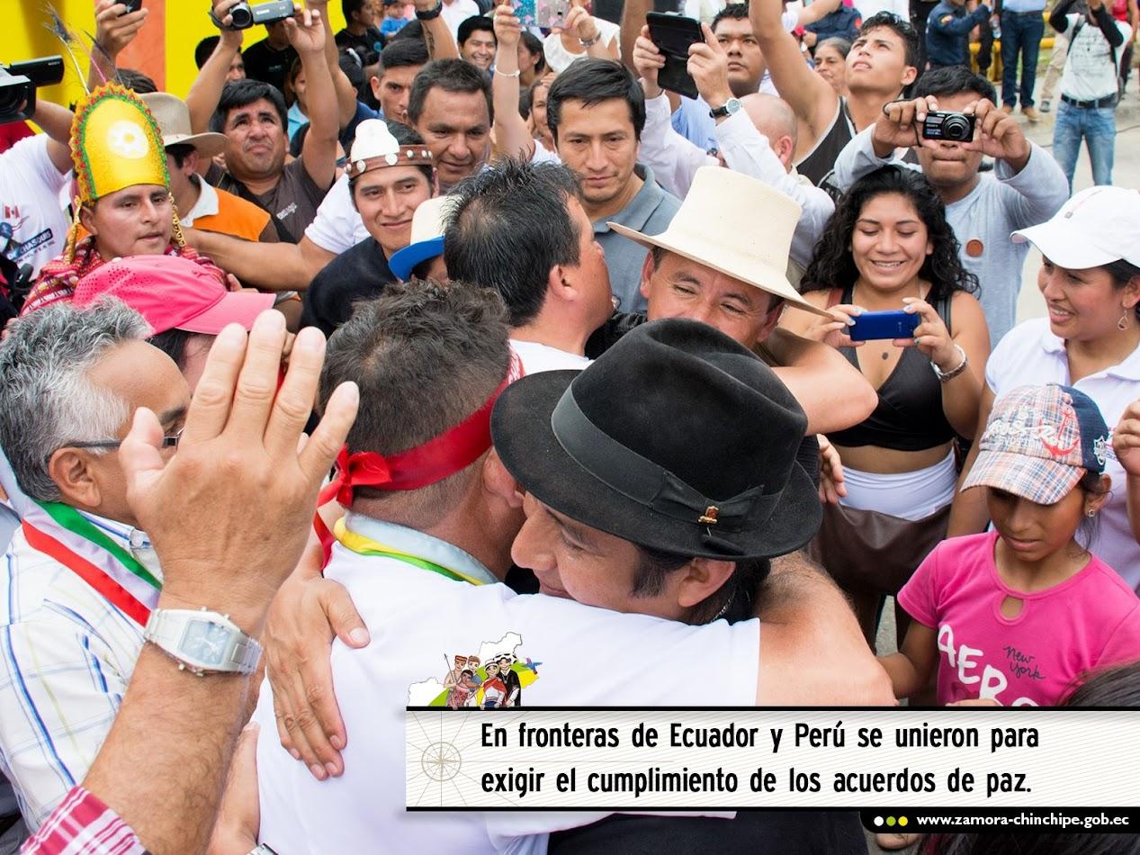 FRONTERAS DE ECUADOR Y PERÚ SE UNIERON PARA EXIGIR  EL CUMPLIMIENTO DE LOS ACUERDOS DE PAZ