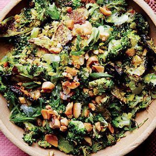 Roasted and Charred Broccoli with Peanuts.