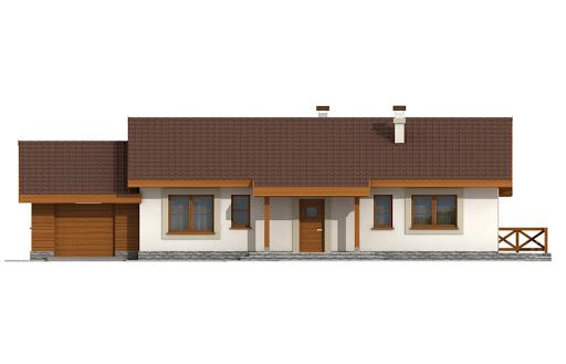 Anulka z garażem w technologii drewnianej - Elewacja przednia