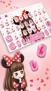 Lovely Bowknot Girl Keyboard Theme 1.0 Mod + Data for Android 2