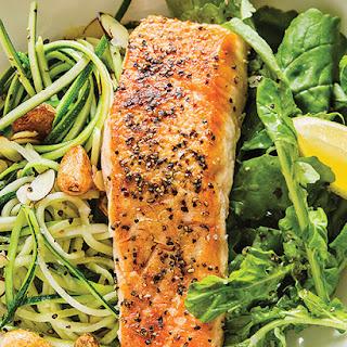Fennel Crusted Salmon with Squash & Garlic