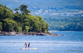 Photo: Stand up paddle boarding on beautiful Lake Champlain at Burton Island State Park by Tara Schatz