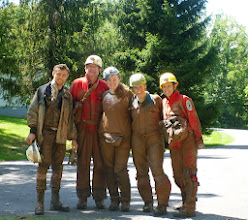 Photo: Post caving picture of Eric, Doug, Heather, Stephanie & Me