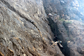 Photo: Richie Kher jugging his way up P2 while Ajit Bobhate takes photos and Sunny Jamshedji relaxes. It is getting late. Water and headlamps have been left behind at the previous belay! (Courtesy Ketan Vaidya)