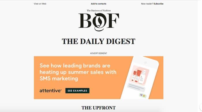 Ví dụ về bản tin từ một chiến dịch tiếp thị qua email